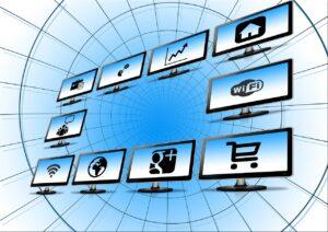 beeldschermen met websites